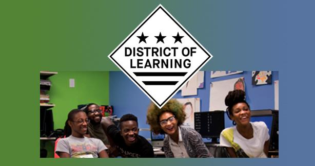 Photo of kids in a classroom below the District of Learning logo