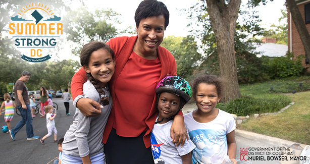 Mayor Bowser with children outside
